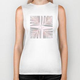 Geometric silver pink 3 light-grey autumn fall tropical pattern Palm-leaves ,society6 Biker Tank
