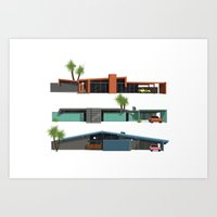 mid century Art Prints featuring Original Mid Century Modern Houses by MidPark Prints
