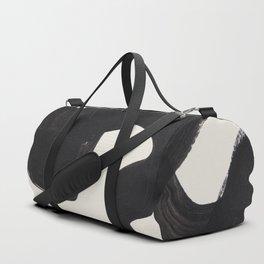 Mid Century Modern Minimalist Abstract Art Brush Strokes Black & White Ink Art Maze Duffle Bag