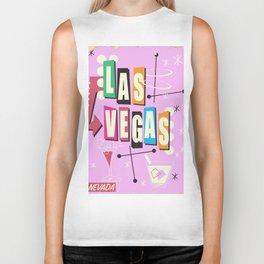 Vintage Las Vegas Vacation print pink version Biker Tank