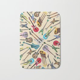 Electric Guitars Pattern Watercolor Bath Mat