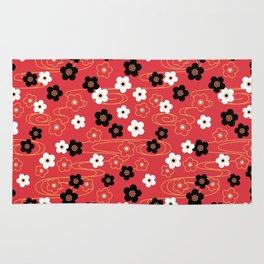 Red Sakura Kimono Pattern Rug