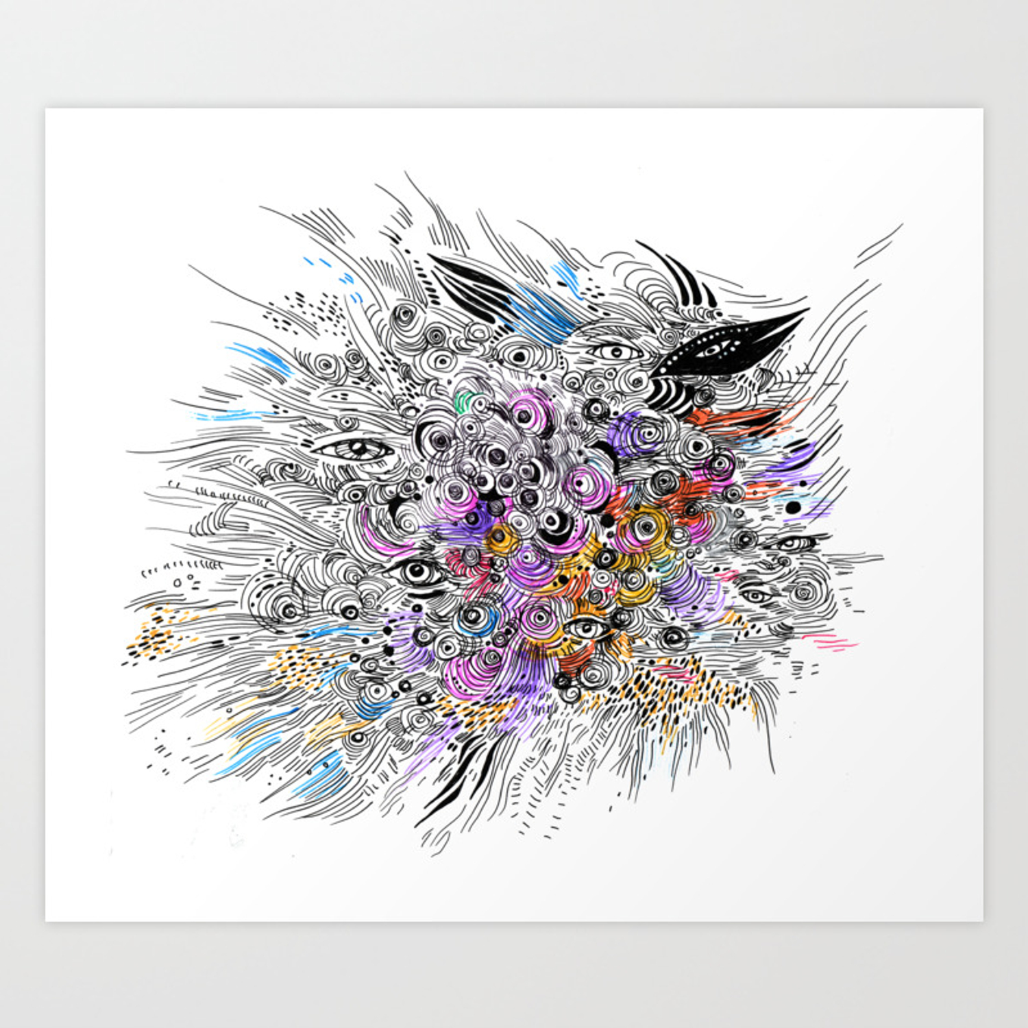 Abstract colorful sketch with eyes doodle art print