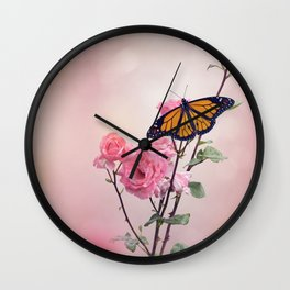 Monarch Butterfly on Rose flowers Wall Clock