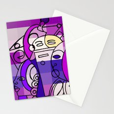 Purple White Commotion Stationery Cards