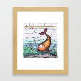 THERE WAS A VERY BIG FISH AT THE BOTTOM OF THE SEA... Framed Art Print