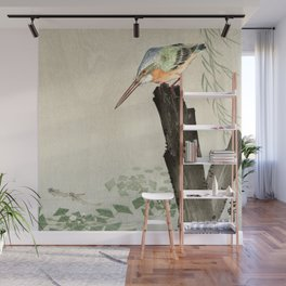 Ohara Koson - Kingfisher on a tree stump Wall Mural