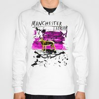 manchester Hoodies featuring Manchester Terier by Genco Demirer