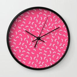 Pink Macaroni Pattern Wall Clock