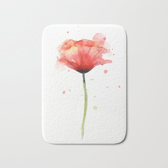 Red Poppy Watercolor Flower Floral Bath Mat