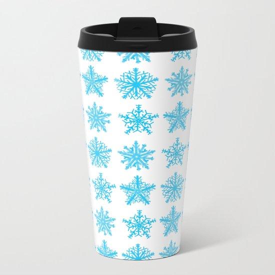 Sky Blue Star Pattern Metal Travel Mug