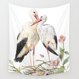 Two Storks Watercolor Painting, Wildlife Art, Clematis Plant, Wild Birds Wall Tapestry