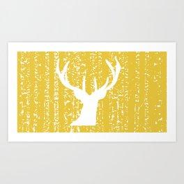 White Deer Against Birch  Art Print