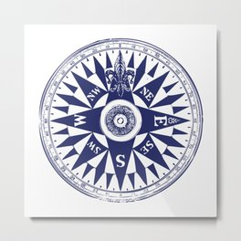 Nautical Compass | Navy Blue and White Metal Print