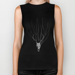 Deer Skull with a crown of branches Biker Tank