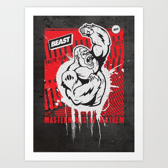 Mayhem Ape (Black on Red) Art Print