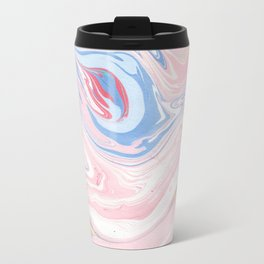 Blush pink blue pastel abstract hand painted watercolor marble Travel Mug