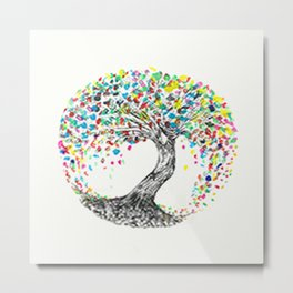 bespoke painted tree  Metal Print