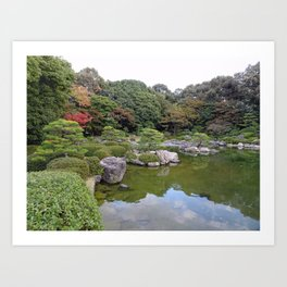 reflections in a Japanese garden pond Art Print