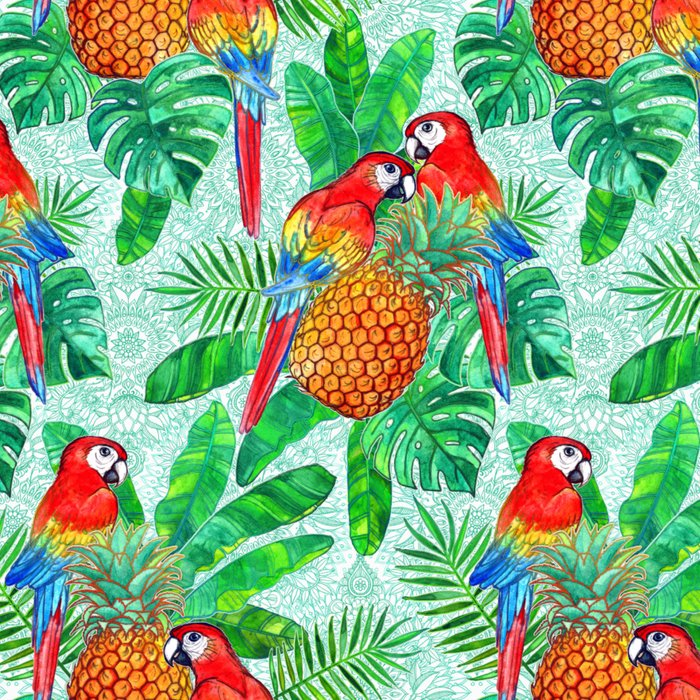 Pineapples and Parrots Tropical Summer Pattern Leggings