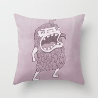 sasquatch Throw Pillows featuring Sasquatch by Damien Mason