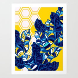 Geo Pop Foliage on Yellow & White Art Print