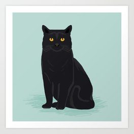 Black Cat cute cat breed customized pet portrait mint background cat lady gifts gender neutral kitty Art Print