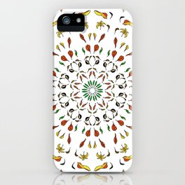autumn leaves yellow brown red green mandala iPhone Case