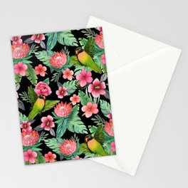 Lovebird Floral jungle tropical Stationery Cards