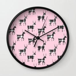 Plaid Bucks on Pink | Black and White Tartan  Deer | Renee Davis Wall Clock