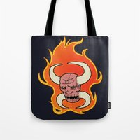 demon Tote Bags featuring Demon by Justin McElroy