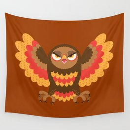Angry Autumn Owl Wall Tapestry