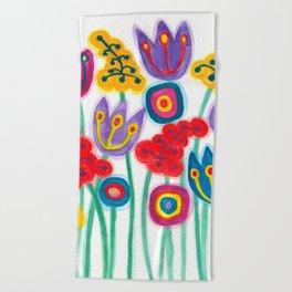 raw flower garden with tulips Beach Towel