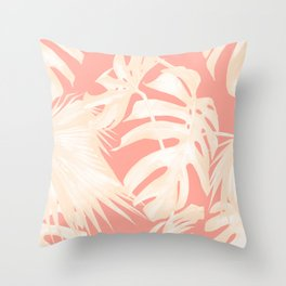 Tropical Coral Pink Palm Leaf Pattern Throw Pillow