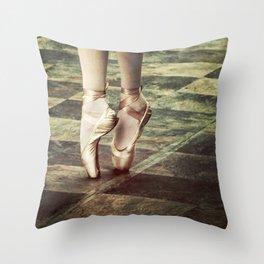 Dancing in the street. Feet of a ballet dancer. Throw Pillow