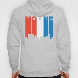 Red White And Blue Moline Illinois Skyline Hoody
