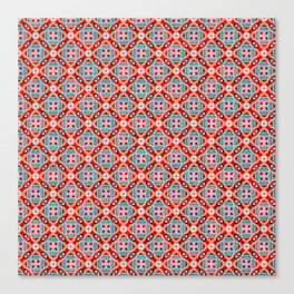 Retro Kitchen Check Cloth , Vintage Red & Blue Chequerboard Daisy flower Pattern Canvas Print