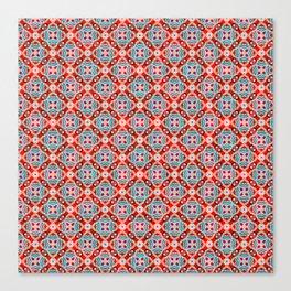 Retro Kitchen Check Cloth , Vintage Red & Blue Chequerboard Daisy flower Pattern Canvas Print