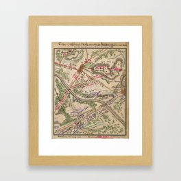 Vintage Map of The Battle of Chantilly (1865) Framed Art Print