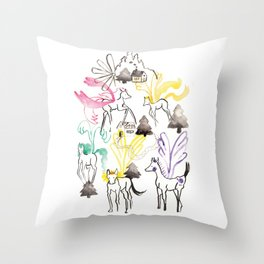 Pegasus in the forest Throw Pillow