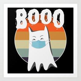 Booo Cat Funny Vintage Halloween Art Print
