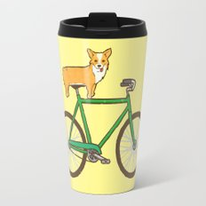 Corgi on a bike Travel Mug