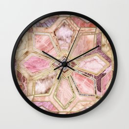Geometric Gilded Stone Tiles in Blush Pink, Peach and Coral Wall Clock