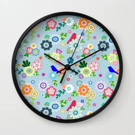 Whimsical Spring Flowers in Blue Wall Clock