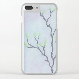 Magnolia Buds on Branches Clear iPhone Case
