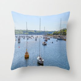 Mylor Yacht Harbour from Greatwood Quay Throw Pillow
