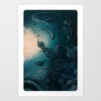 underwater Art Prints featuring Underwater by Tanya_tk
