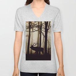 Forest night deer Unisex V-Neck