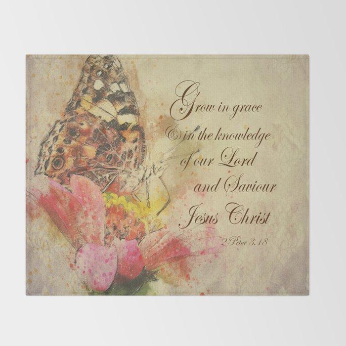 Vintage Butterfly; Grow in Grace Bible Verse Throw Blanket