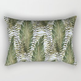 topical leaves in blue background Rectangular Pillow